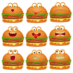 Cute set of emoji cartoon burger character