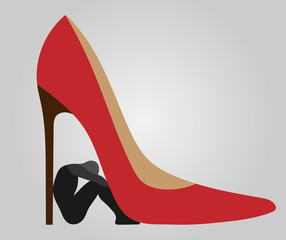 henpecked - a man under a heel of woman shoes