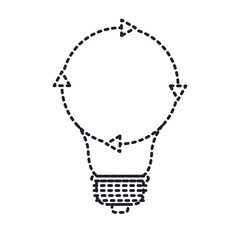 light bulb with reload icon in monochrome silhouette dotted vector illustration