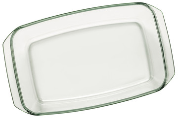 Glass Baking Pan Isolated On White Background