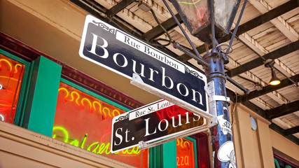 Bourbon Street Road Sign in New Orleans French Quarter, Louisiana Fotomurales