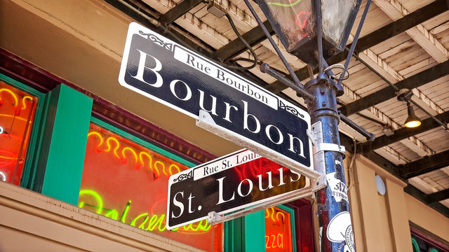 Bourbon Street Road Sign in New Orleans French Quarter, Louisiana