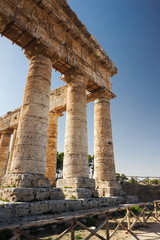 Old greek time temple in Segesta, Italy