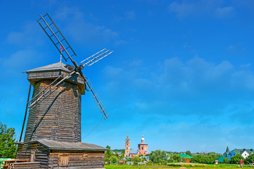 The Suzdal cityscape with a windmill
