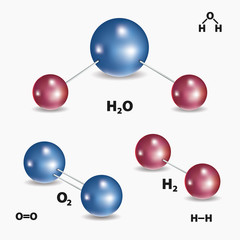 Chemical model of water molecule, oxygen and hydrogen. Vector illustration.