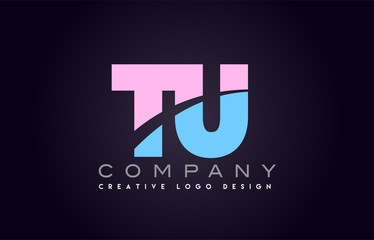tu alphabet letter join joined letter logo design