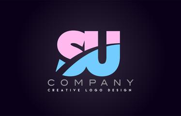 su alphabet letter join joined letter logo design