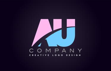 au alphabet letter join joined letter logo design