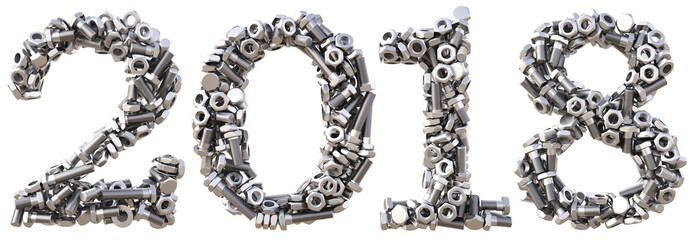 new 2018 year from the nuts and bolts. isolated on white. 3D illustration