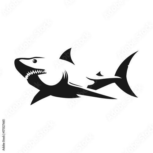 13e58b0a9d175 Shark black silhouette on white background. Tattoo template. Vector  illustration.