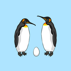 Vector illustration of bird penguin couple with egg. Emperor penguin family