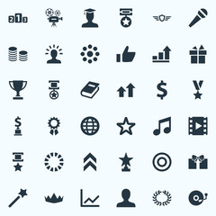 Vector Illustration Set Of Simple Trophy Icons. Elements Present, Guard, Profile And Other Synonyms Postgraduate, Profile And Champion.