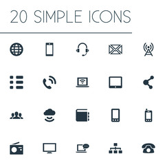 Vector Illustration Set Of Simple Network Icons. Elements Laptop, Screen, Cellphone And Other Synonyms Device, Storage And Tower.