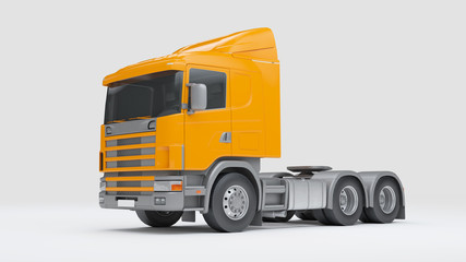 Logistics concept. Cabin of cargo truck isolated on white background. Front side view. 3D illustration