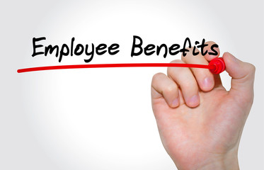 Hand writing inscription Employee Benefits with marker, concept