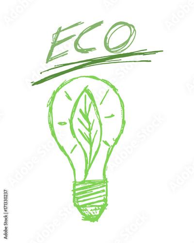Scritta Eco Verde Con Lampadina Schizzo Disegno Vettoriale