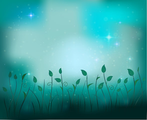 fairy plant glade silhouette at night, fireflies in the summer dream background, vector,