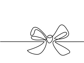 Christmas Holly Decoration Bow-knot. Continuous line drawing. Vector illustration