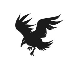 Crow black silhouette. Vector illustration.