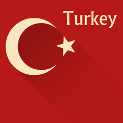 turkey flag in flat for web design