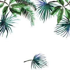 Watercolor hand painted tropical frame with palm leaves