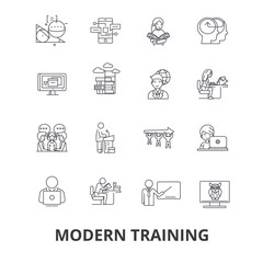 Modern training, business learning, online course, video school, education line icons. Editable strokes. Flat design vector illustration symbol concept. Linear signs isolated on background