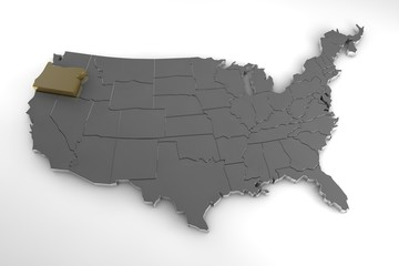 United states of America, 3d metallic map, whith Oregon state  highlighted. 3d render
