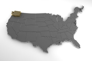 United states of America, 3d metallic map, whith Washington state  highlighted. 3d render