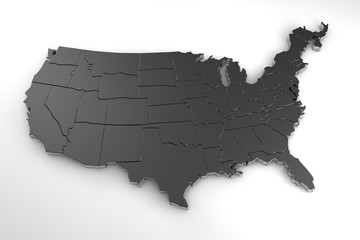 United states of america 3d metal map isolated on white 3d render