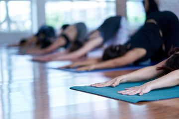 Group of asian young woman stretching and practices practicing during their yoga class in a gym. fitness, sport, training, yoga and people concept