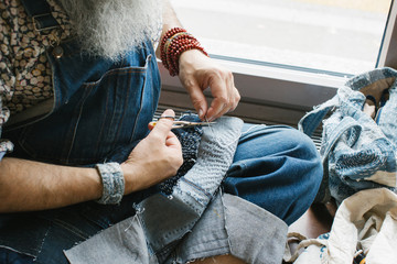 Closeup of Elderly Man in Denim Stitching Boro Style (Japanese Folk Fabric)