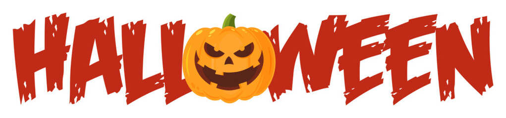 Halloween Greeting Banner Of A Evil Pumpkin As The O. Illustration Flat Design Style Isolated On White Background