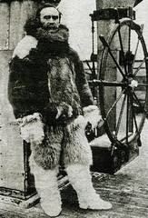 Robert Peary, American explorer, in arctic furs, ca. 1909
