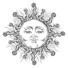 Antique style hand drawn art sun. Boho chic tattoo design vector