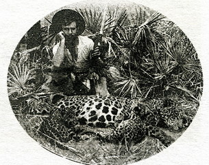 Percy Fawcett (1867- during or after 1925), british explorer who died in the Amazon rainforest in Brazil, with his hunted yaguar