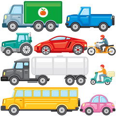Flat Colored Cartoon Cars and Trucks. Vector Icons
