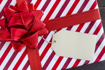 Wrapped Christmas Presents with Blank Tag