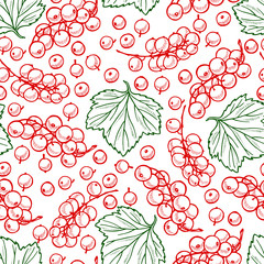 Pretty sketched seamless pattern made of hand drawn red currant and leaves.