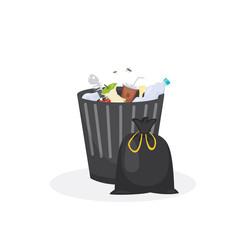Trash bin garbage container vector illustration in cartoon style