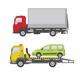 Truck and tow truck isolated on white background. Vector illustration.