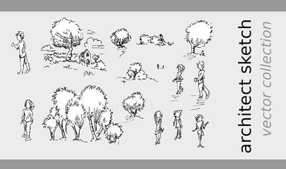 Schets van bomen mensen en dorp