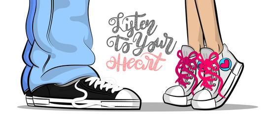 Pop art man woman sneakers legs blue jeans shoelace stay kiss romantic. Philosophy lettering love comic text phrase. Cartoon colored sketch vector illustration. Funny Valentines Day casual style.