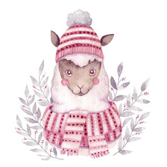 Watercolor vector alpaca illustration. Christmas watercolor animal.Cute kids illustration,perfect for greeting or post cards, prints on t-shirts, phone cases,book and other. Hand drawn baby animal