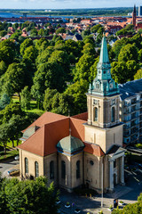 Danish church in Aalborg. View from the top