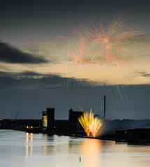 Fireworks next to the Aalborg fjord in Denmark