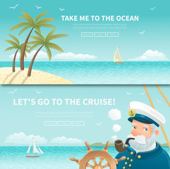 Set of two ocean  travel posters.  All objects are conveniently grouped and located on separate layers. Image cropped with Clipping Mask, so you can easily redact it as you need.