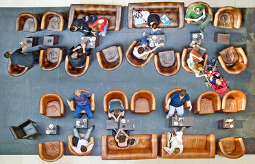 High angle view of people on the break coffee In Coffee Shop
