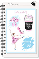 Cute stickers for Planner: coffee cup with flowers, flower bouquet, beautiful ballerina, pink shoe. Fashion stickers set. Sketch. Vector illustration.