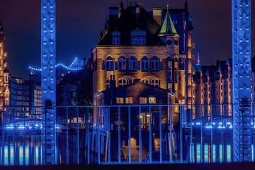 Hamburg, Panorama at night. With blue illuminated harbour