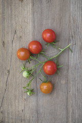Fresh picked cherry tomatoes on wood surface